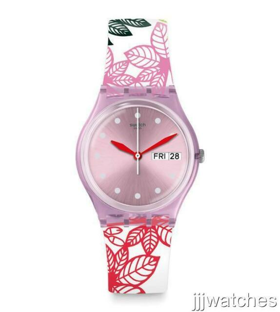 Swiss Swatch Summer Leaves Women Silicone Date Watch 34mm Gp702