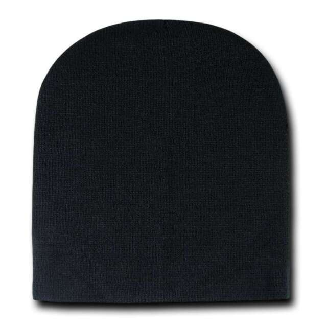 7e609c86e8f Black Knit Plain Beanie Hat Skull Snowboard Winter Warm Hats Cuffless  Beanies