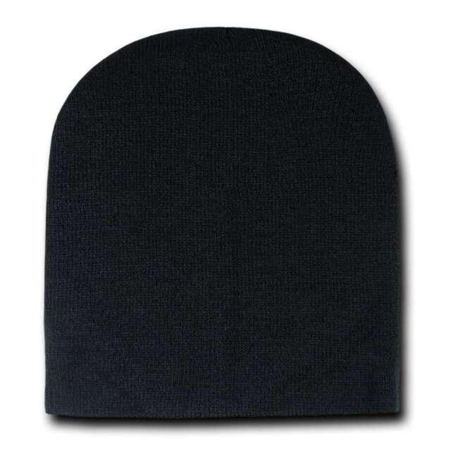 Black Knit Plain Beanie Hat Skull Snowboard Winter Warm Hats Cuffless  Beanies b26984622ff