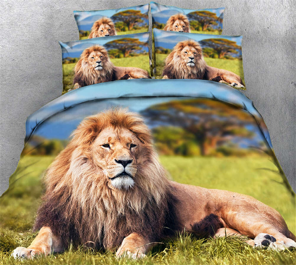 Fatherly Lion 3D Printing Duvet Quilt Doona Covers Pillow Case Bedding Sets