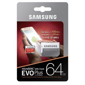 Samsung-Plus-64GB-Micro-Sd-SDXC-Classe-10-UHS-3-Scheda-di-memoria-fino-a-100MB-S-con-ADP