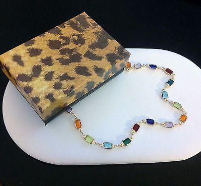 """Anklet-Ankle Bracelet-18 KT Gold Fill-Jewel Tone Crystal-Multi Gem Colors-10"""""""