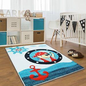 Ninos-Alfombras-Eco-Moda-Tex-Pirata-Azul-Rojo-Crema-Varios-Tamanos