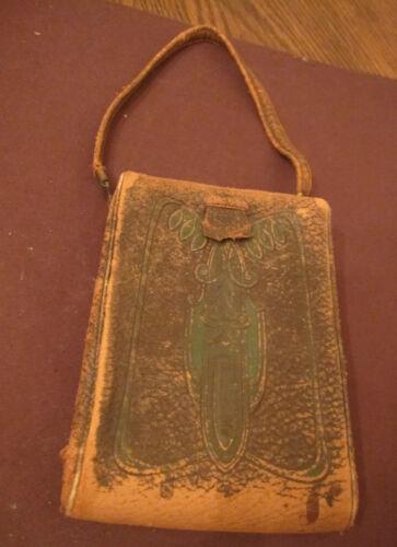 antique art & crafts nouveau leather brass vanity purse clutch mirror makeup bag