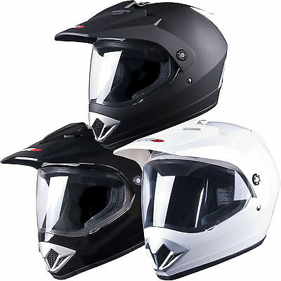 Tuzo 370 Plain Dual Sport Mx Enduro Motocross Adventure Crash Helmet with Visor