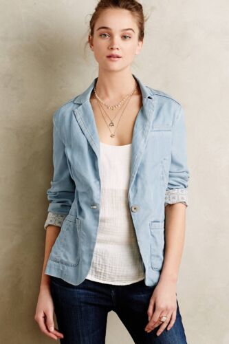 af Sizs Newsy Anthropology Pilcro Sz Chambray Small New S Jacket Blazer Nwt pfq7A7
