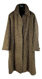 Womens-Burberry-Irish-Tweed-Bell-Coat-L-XL-oversized-16L-Brown-Herringbone-t8