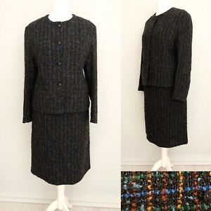 Vintage-Wool-Blazer-Suit-Skirt-2-Pc-Set-14-Black-Boucle-Formal-Office-Check-Work