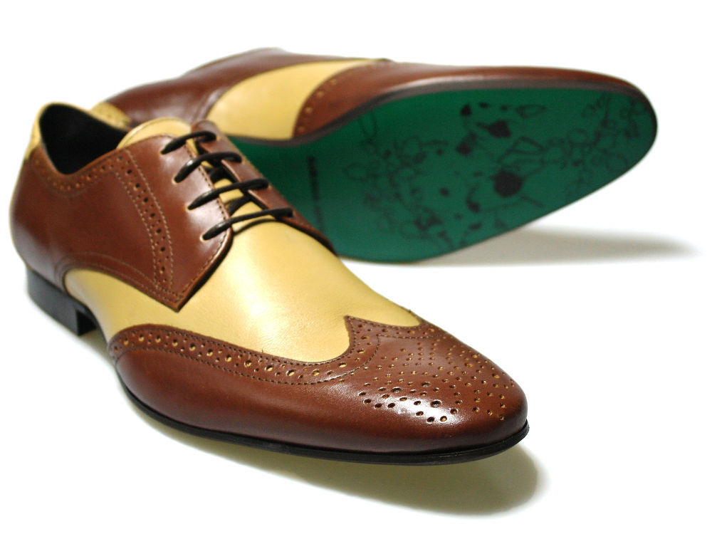 Delicious Junction Ogden Brown  Cream Leather shoes UK 6-12    Free UK P&P