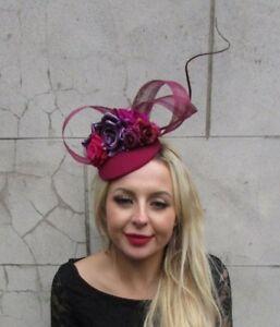 f08e37c3 Burgundy Wine Red Purple Hot Pink Flower Feather Hat Hair Fascinator ...