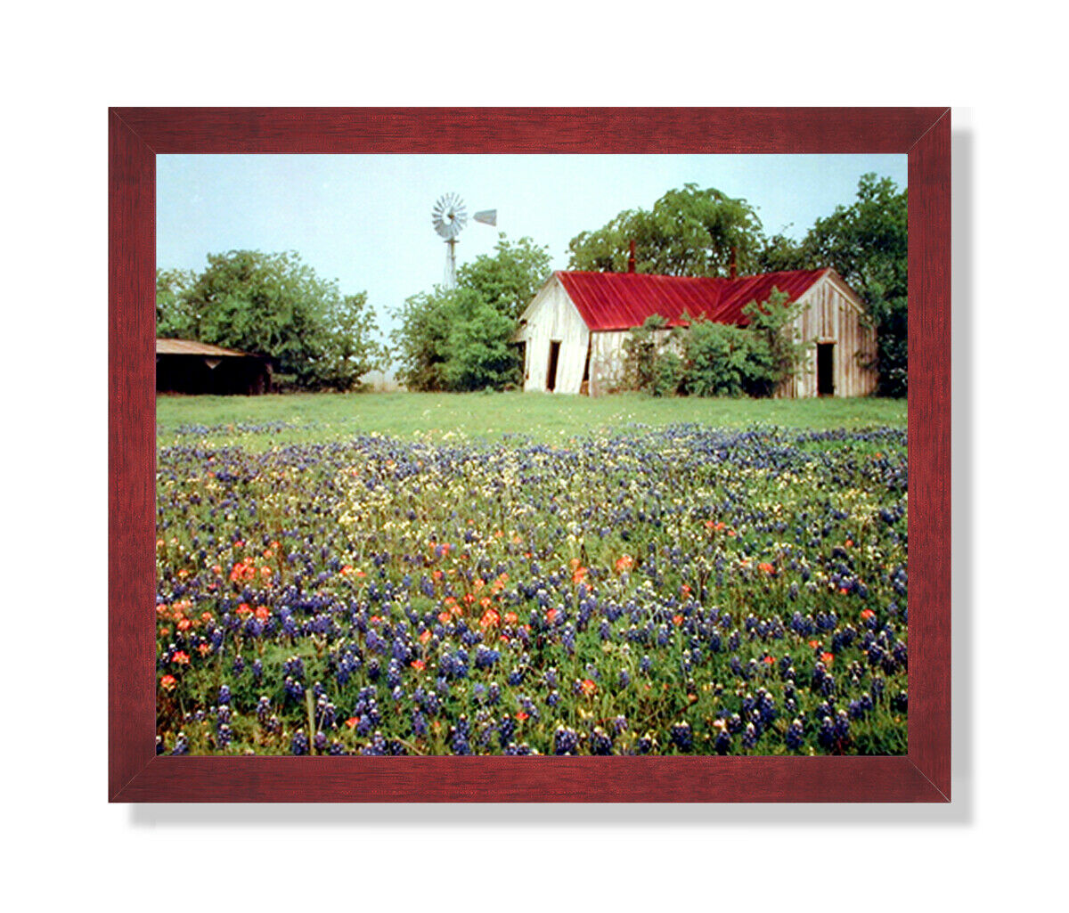 Country Windmill Barn Flowers Landscape Wall Picture Cherry Framed Art Print