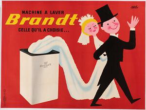 Affiche-Originale-H-Morvan-Brandt-Robe-Mariage-Machine-a-laver-1955
