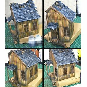 1-35-Holzhaus-Kits-Diorama-Szene-Militaer-Sand-Tisch-Gebaeude-Ruinen-Haus-Modell