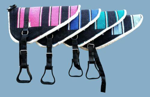 Navajo Print Padded Bareback Pad with detachable stirrups