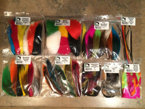 7 HARELINE COMBOS bucktail calftail biots squirrel deerbelly zonkers fly tying