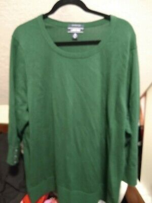 Lands/' End Women Sz 2 Fitted Green Broadcloth 3//4 Sleeve Career Blouse Top NWOT