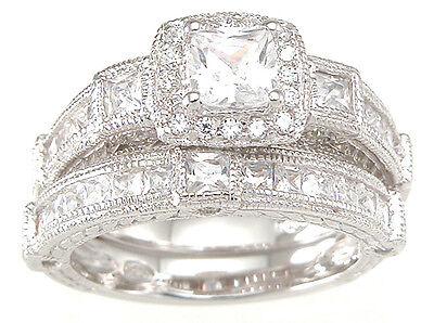 2.5 CT .925 STERLING SILVER PRINCESS WEDDING ENGAGEMENT RING SET SIZE 5 6 7 8 9