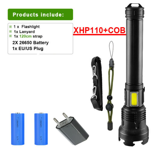 XHP110 390000LM COB Led Flashlight Usb Rechargeable Super Bright Tactical Torch