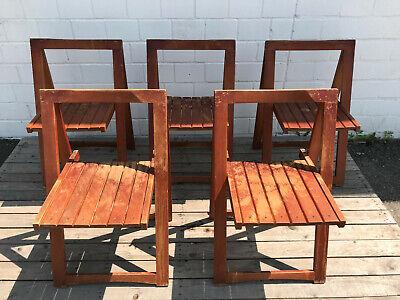 Aldo Jacober Klappstuhl Teak Optik Bazzini Italien Late 1960s Design Stuhl Set