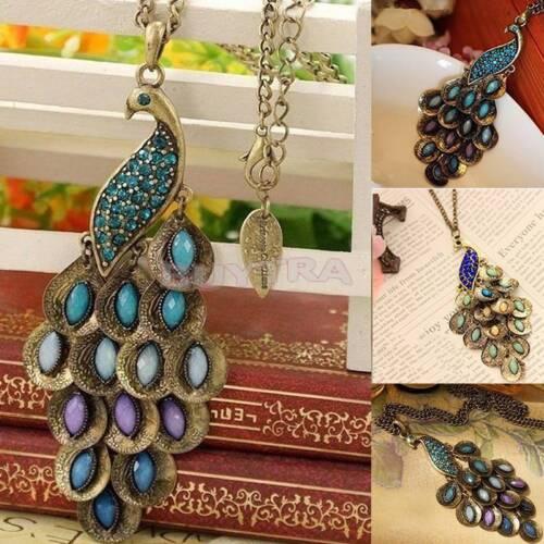 Bronze Vintage Peacock Enamel Rhinestone Pendant Long Necklace Chain HQ