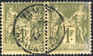 FRANCE-MADGASCAR-1892-paire-Yv-82-1fr-Sage-t-II-obl-034-TAMATAVE-MADAGASCAR-034