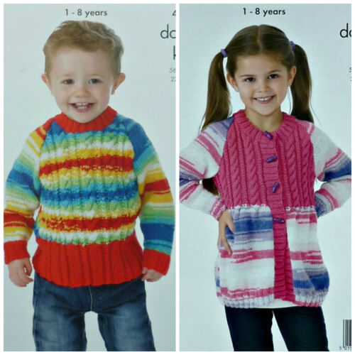 KNITTING PATTERN Childrens Cable Jumper /& Cable Yoke Coat DK King Cole 4094