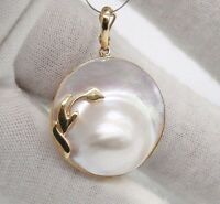 Ladies 14 Karat Yellow Gold 24mm Round Mabe Pearl Pendant.