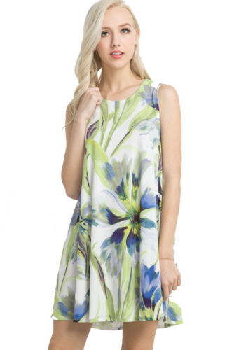 Womens Sleeveless Knit Floral A Line Tunic Shirt Top Dress with Pockets