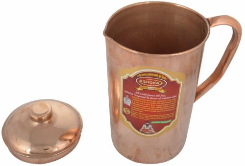 100% Pure 1 Ltr Copper Water Jug Pitcher New Copper Indian Ayurveda Product Tk
