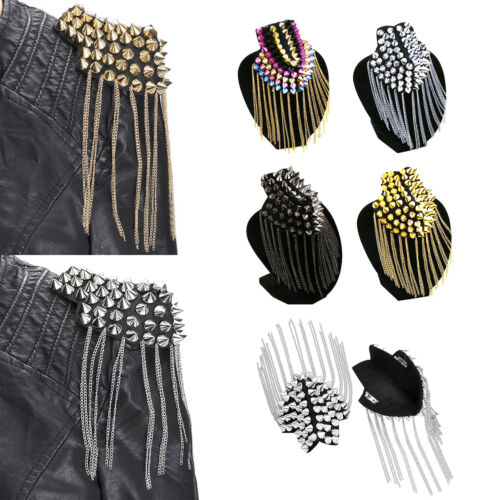 Women Men Coat Rivet Epaulet Tassel Accessory Gothic Punk Rock Shoulder 4 Colors