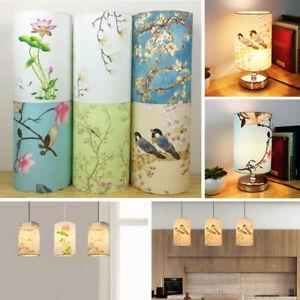 Pantalla-De-Tambor-Pequeno-Vintage-Floral-cortina-de-lampara-de-pajaro-mesa-cubierta-de-la-luz-de
