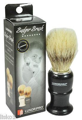 "Luxor Pro Quality Badger Hair Shave mug brush plastic handle 4""long  (black)"