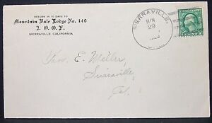 Mountain-Bale-Lodge-Ioof-Advertising-Envelope-Sierraville-1c-1920-USA-Brief-Y-73