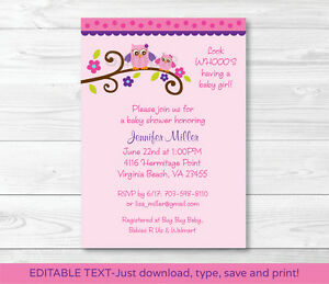 Girl Owl Blossom Printable Baby Shower Invitation Editable PDF eBay