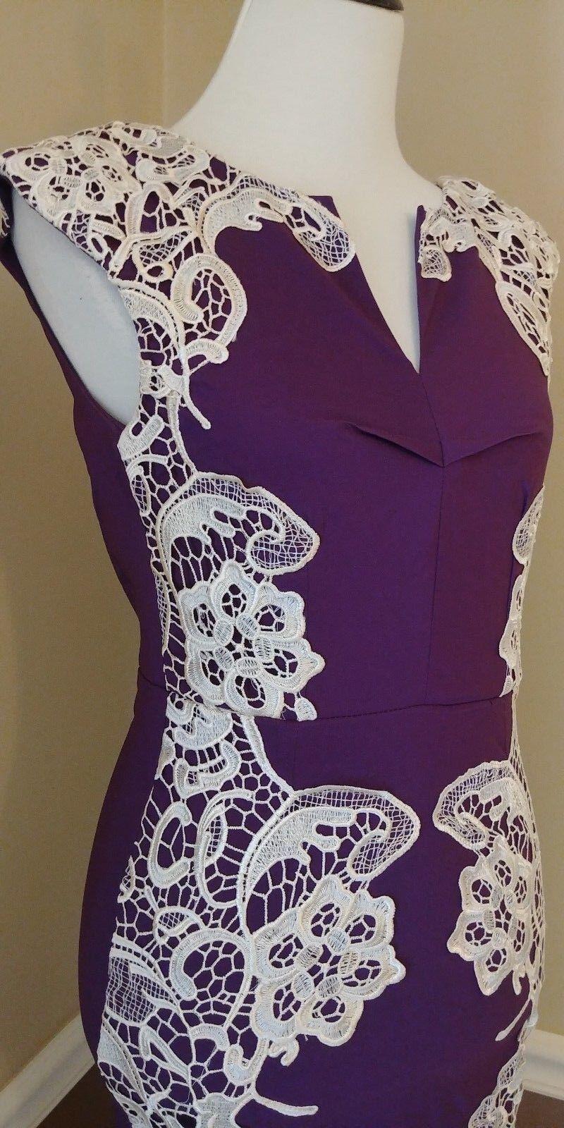 ee0d924a2c1 ... Modcloth Purple Sheath Dress US 4 Ivory Crochet Detail Lakeside  Lakeside Lakeside Libations Grape 3a261c ...