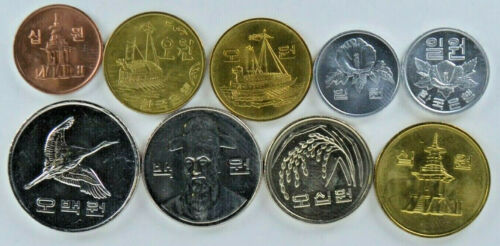 1 TO 500 WON SOUTH KOREA 9-PIECE UNCIRCULATED VARIETY COIN SET