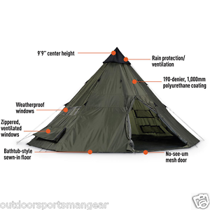 Image is loading Outfitter-Spike-Tent-12-Person-Teepee-Basec&-Hunting-  sc 1 st  eBay & Outfitter Spike Tent 12 Person Teepee Basecamp Hunting Guide Cabin ...
