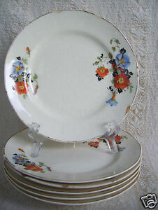 Antique-6-Plates-6-1-4-034-Golden-Glo-Glow-American-Dinnerware-Pattern-Limoges