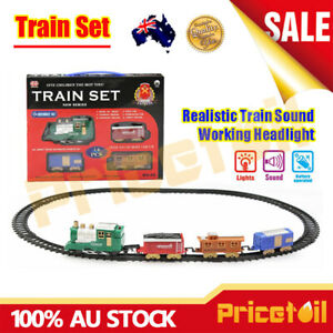 New-Train-Track-Set-Battery-Operated-Sound-amp-Light-Fun-Educational-Toy-Train-Set