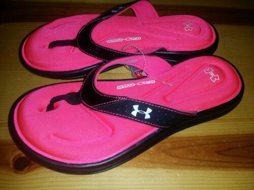 NEW Girls sz 4 Under Armour Marbella V Sandal Flip Flop Black Sirens Coral