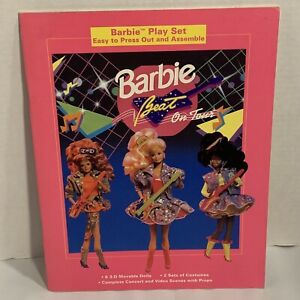 Barbie-Vintage-1991-Barbie-on-Tour-Paper-Doll-Play-Set-Uncut-Rare