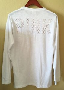 New-Victoria-Secret-PINK-Sequin-Bling-White-Long-Sleeve-Campus-Tee-Shirt-S-M-L