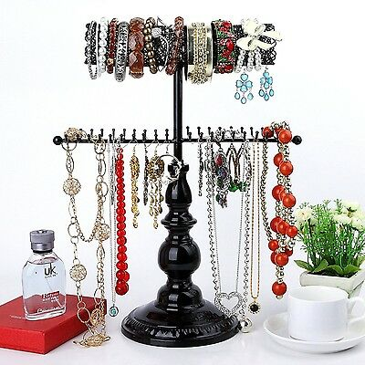 Hanging Jewelry Organizer Black Stand Necklace Holder Tree Storage Teen College