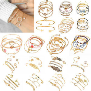 Boho-Fashion-Women-039-s-Jewelry-Bracelets-Chain-Cuff-Bangle-Lady-Charm-Bracelet-Set