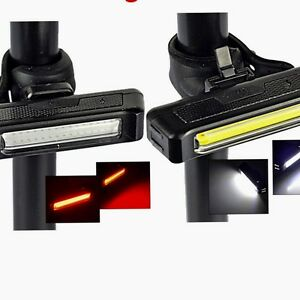 Waterproof-USB-Rechargeable-Cob-Bicycle-Bike-Front-Rear-3-Modes-LED-Light-UK