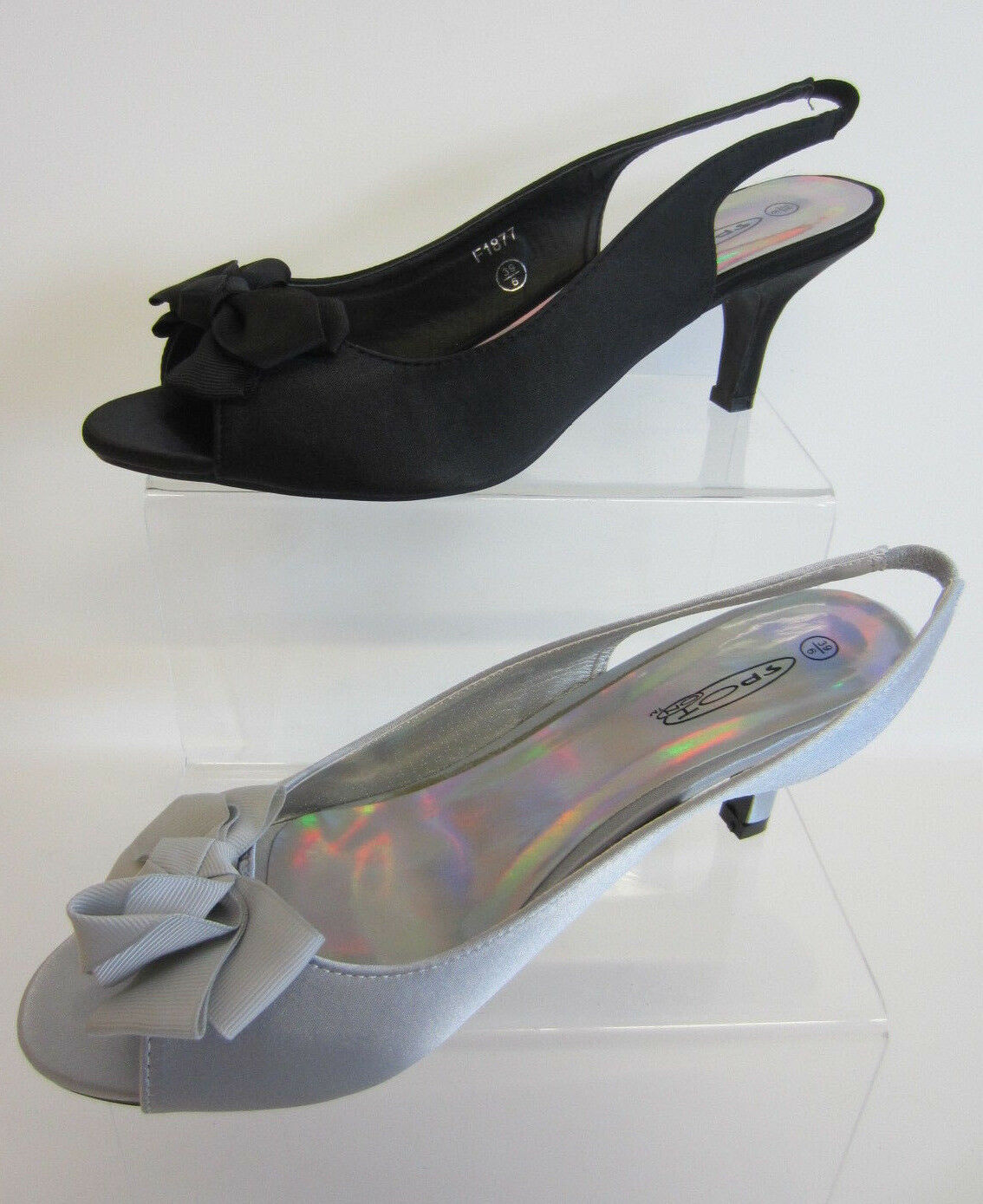 Spot On F1R877 Ladies Black Or Silver Sling-back Shoes with Bow (R7A)