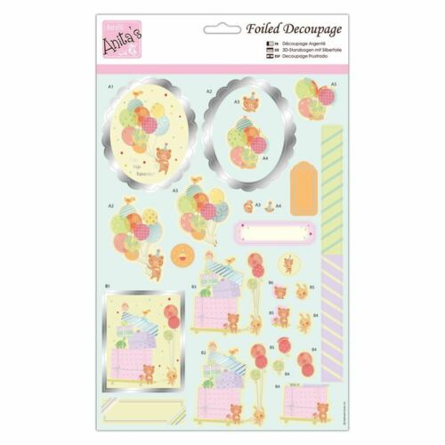ANITAS FOILED DECOUPAGE BALLOON SURPRIZE TOPPERS FOR CARDS /& CRAFTS