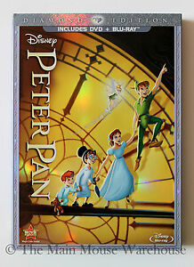 Disney-Classic-Animated-Masterpiece-Peter-Pan-in-Vault-DVD-Blu-ray-w-Slipcover