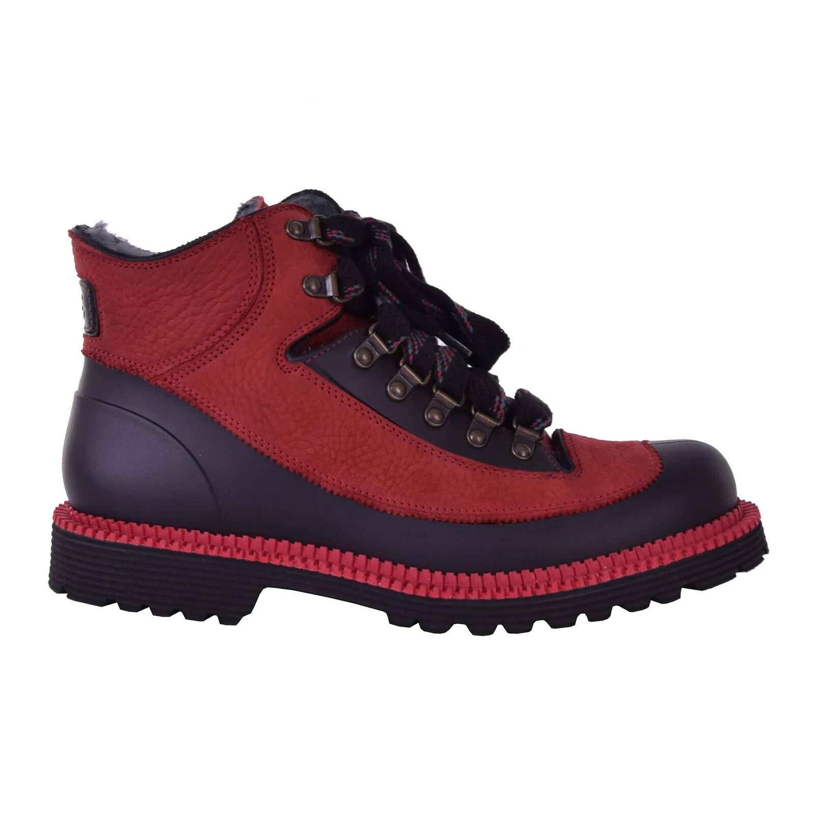 DOLCE & GABBANA Lined Winter Ankle Boots Shoes Red Black 05968