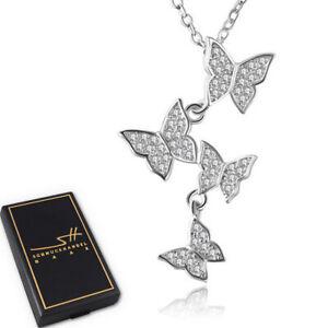 Schmetterling-Halskette-925-Sterling-Silber-Damen-Swarovski-Kristalle-ETUI